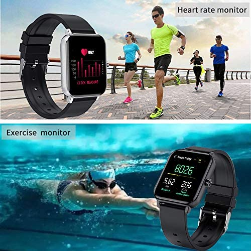Smart Watch for Android and iOS Phones, AOKEY Fitness Tracker Watch for Men Women, Heart Rate and Sleep Monitor, Pedometer, IP68 Waterproof Activity Tracker (Black) 2