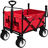 Folding Push Wagon Collapsible Cart 300 Pound Capacity Utility Camping Grocery Canvas Fabric Sturdy Portable Rolling Buggies Outdoor Garden Sport Picnic Heavy Duty Shopping Beach Wide Wheels Red