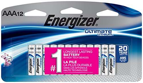 Energizer AAA Lithium Batteries, Ultimate Lithium Triple A Battery (12 Count), Longest-Lasting AAA Battery