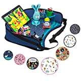 Toddler Car Seat Travel Tray by DMoose – Reinforced Solid Surface, Sturdy Side Walls, Strong Buckles, Mesh Pockets – Waterproof Snack, Play & Learn Tray
