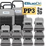 BlueDri Pro Pack 3 Water Damage Equipment, 2X BD-130 Commercial Dehumidifiers & 20x One-29 Air Mover, Gray
