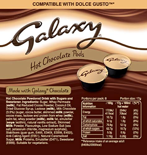 Galaxy Maltesers Hot Chocolate Double Box Variety Pack 8 Pods Of Each Flavour Dolce Gusto Compatible Pods