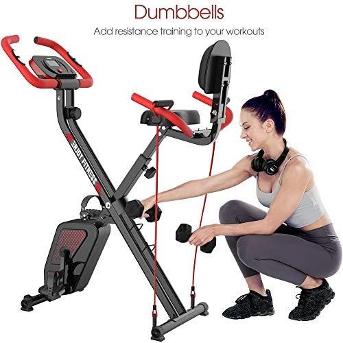 pooboo Folding Exercise Bike Indoor Cycling Bike Magnetic Upright Bike Stationary Bike with Dumbbells,Arm Resistance Bands,Pulse Sensor,LCD Monitor 6