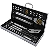 Home-Complete BBQ Grill Tool Set- 16 Piece Stainless Steel Barbecue Grilling Accessories with Aluminum Case, Spatula, Tongs, Skewers