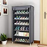 Aysis Multipurpose Portable Folding Shoes Rack 4'//6' Tiers Multi-Purpose Shoe Storage Organizer Cabinet Tower with Iron and Nonwoven Fabric with Zippered Dustproof Cover