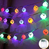 Party String Lights, Outgeek Battery Powered Ghost Hanging Lights Decorative 3D String Light 10 LEDs Halloween Decorative DIY Fairy Light 4.9ft