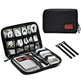 Travel Cable Organizer Case Tech Electronics Accessories Bag with 3 Cable Ties for Cable, iPad, Hard Drives, USB Charger