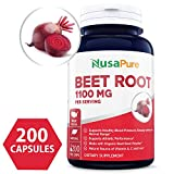 Beet Root 1100mg 200 Veggie caps (Organic, Non-GMO & Gluten Free) - Lower Blood Pressure, Increase Performance, Regulate Insulin Response & Maintain Skin Condition