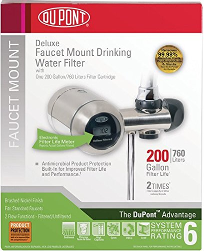 DuPont WFFM350XBN Electric Metered 200-Gallon Deluxe Faucet Mount Premium Water Filtration Filter, Brushed Nickel
