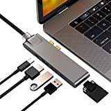 Purgo 7-in-2 USB C Hub Adapter for MacBook Pro 2019/2018-2016, MacBook Air 2018/2019, with Gigabit Ethernet, 4K HDMI, 40Gbps Thunderbolt 3, 100W PD, 2 USB 3.0 and SD/Micro Card Readers (Space Grey)