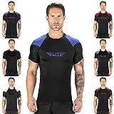 Elite Sports New Item Standard Short Sleeve Compression, Mma, Bjj, No Gi, Cross Training Rash Guar, X-Large, Dark Blue