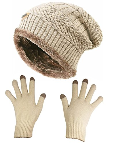 62f141ae7f50 HindaWi Slouchy Beanie Gloves For Women Winter Hat Knit Warm Snow Skull Cap  ...