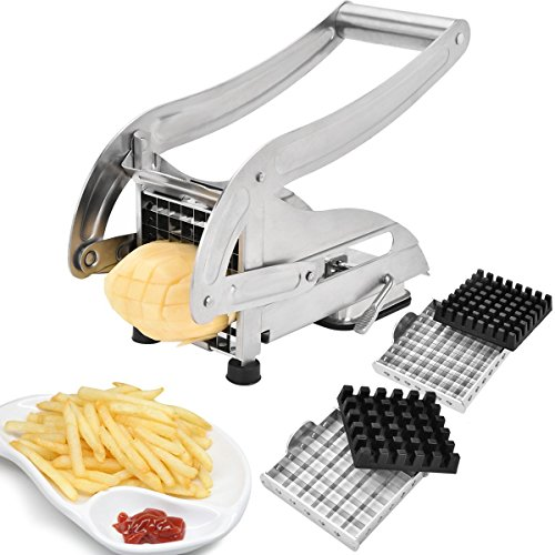 Sopito French Fries Cutter, Stainless Steel No Plastic For Homemade Chips/Fries