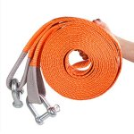 JIC PRODUCTS Long Heavy Duty Strap Belt with 2 Heavy Clamps for Vehicle Towing (Orange, 50 mm X 3 m)