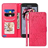 Galaxy J7 Crown Case,Galaxy J7 Star Case,Galaxy J7 Refine/J7 2018 Case,JanCalm [Elephant Pattern][Folio Cover][Kickstand][Wrist Strap] Credit Card Holder Wallet Flip Case + Side Pocket (Red/Rose)