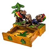 Rockin Gear Ashtray - Intricate Polyresin Rasta - Jamaicans Making Love on Marijuana Weed Leaf Stashbox - Cigarette Marijuana Ashtray (BLUE)