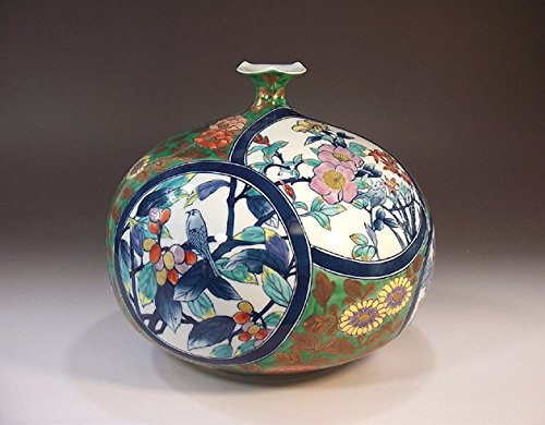 Arita , Imari porcelain vases | traditional crafts | Somenishiki Aya Kon arabesque split Hanae | potter Fujii NishikiAya
