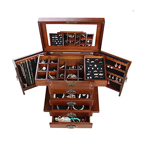 Jewelry Box for Women 4 Draws Lock And Key Mirror Lined ...