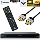 Sony UBP-X800 Streaming 4K Ultra HD 3D Hi-Res Audio Wi-Fi and Bluetooth Built-in Blu-ray Player with A 4K HDMI Cable and Remote Control- Black
