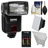 Sunpak DigiFlash 3000 E-TTL II Flash + Batteries & Charger + Soft Box + Reflector Kit for Canon EOS 6D, 70D, 7D Mark II Rebel T3, T3i, T5, T5i, SL1 Cameras