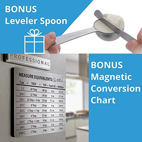 Stainless Steel Measuring Cups and Spoons Set: 7 Cup and 7 Spoon Metal Measure Sets of 14 Piece for Dry & Liquid Measurement - Kitchen Gadgets & Utensils for Cooking Food & Baking - Best for Nesting 9