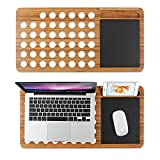 Black Sales Friday Cyber Sales Monday Deals-Bamboo Laptop Lap Desk Pad Board Notebook Tablet Cellphone Stand Holder Organizer with Built-in Mouse Pad Hole for Cooling Fits up to 11'-13'-15' (15')