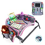 Kids Travel Tray | Bundle with | Bonus Back Seat Car Organizer by Moditty – Activity Play Table, Tablet Holder for Toddlers in Car Seats, Airplanes, Strollers (Pink)