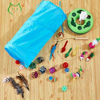 Cat-toy-31pcs-Kitten-Toys-Value-Pack-3-Way-TunnelCatnip-fishCatnip-Chew-SticksInteractive-Feather-TeaserFluffy-MouseTumble-Cage-MiceCrinkle-Balls-Super-Fun-for-PuppyKittyRabbits-and-Dogs