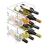 mDesign Modern Plastic Stackable Vertical Standing Wine Bottle Holder Stand - Storage Organizer for Kitchen Countertops, Pantry, Fridge - Each Rack Holds 3 Containers, 4 Pack - Clear