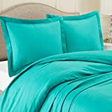 Nestl Bedding Duvet Cover 3 Piece Set - Ultra Soft Double Brushed Microfiber Bedding - Damask Dobby Stripe Comforter Cover and 2 Pillow Shams - King/Cal King 90' x 104' - Teal Blue/Green