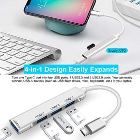 USB-C-Hub-KINDRM-4in1-Mini-Portable-Type-C-to-USB-30-Hub-Multiport-Adapter-for-MacBook-Air-MacBook-Pro-iPad-Pro-XPS-and-More-Type-C-DevicesSilver