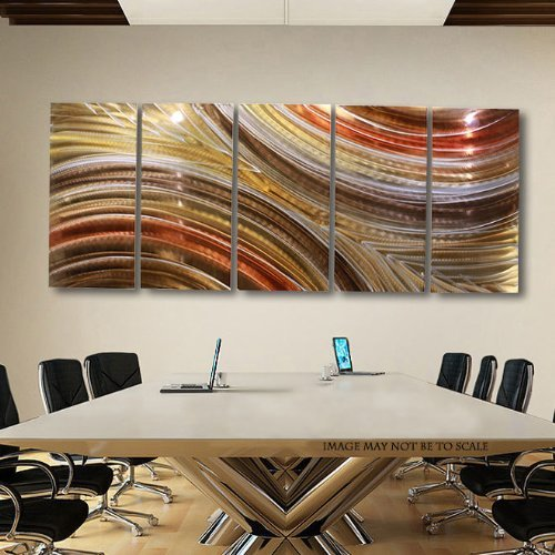 Distressed copper · extra large brown copper gold earthtone modern abstract metal wall art hanging home