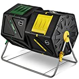 Miracle-Gro Large Dual Chamber Compost Tumbler - Easy-Turn, Fast-Working System - All-Season, Heavy-Duty, High Volume Composter with 2 Sliding Doors + Free Scotts Gardening Gloves (2 - 27.7gal/105L)