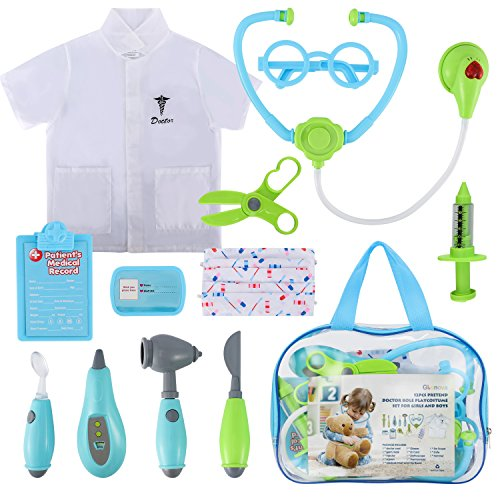 Glonova Doctor Kit for Kids, 12 Pcs Pretend Dotor Play Kit with Roleplay Doctor Costume, Dress up Doctor Accessories, and Carry Bag