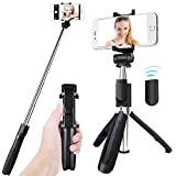 Bluetooth Selfie Stick Tripod, APPHOME Aluminum Extendable Monopod with Wireless Remote Shutter Adjustable Phone Holder for iPhone X 8 7 6s 6 Plus Samsung Galaxy S8 Note 8 Android, Black