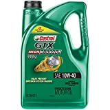 Castrol 03111 GTX High Mileage 10W-40 Synthetic Blend Motor Oil, 5 Quart