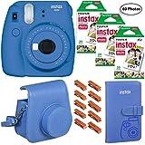 Fujifilm Instax Mini 9 (Cobalt Blue), 3X Instax Film (60 Sheets), Groovy Case, Album and Hanging Pegs