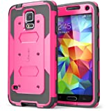 Galaxy S5 Case, i-Blason Armorbox Dual Layer Hybrid Full-body Protective Case with Front Cover and Built-in Screen Protector / Impact Resistant Bumpers (Pink)