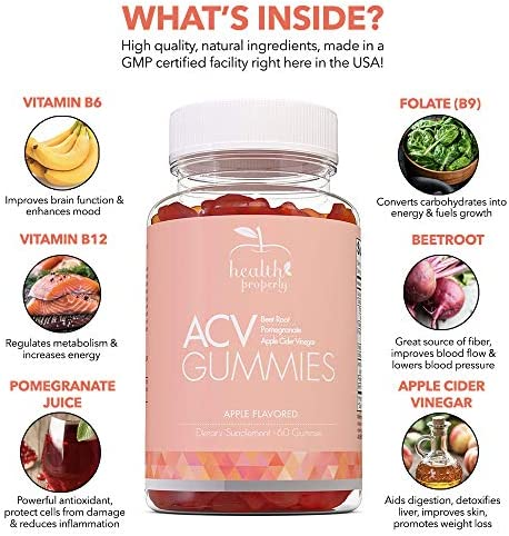 HEALTH PROPERLY - Apple Cider Vinegar Gummies | Immune System Support | Liver Detox & Weight Loss | Great Taste 60 Count | All Natural Superfood Cleanse 2