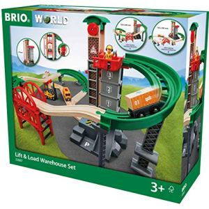 BRIO World – 33887 Lift & Load Warehouse Set | 32 Piece Train Toy with Accessories and Wooden Tracks for Kids Ages 3 and Up 51qANgeClGL