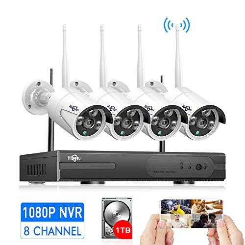 [Expandable 8CH]Wireless Security Camera System Outdoor, HisEEu 8 Channel 1080P NVR 4Pcs 960P 1.3MP Night Vision IP Security Surveillance Cameras Home, Plug&Play, Easy Remote View, 1TB HDD Pre-install