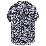 JJLIKER Men's Hipster Short Sleeve Shirts Leopard Print Button Down Casual Tees Shirts Beach Hawaiian Shirt with Pockets Black