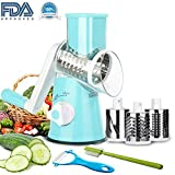 Vegetable Mandoline Slicer, 3 in 1 Round Veggie Chopper Fruit Cutter Cheese Shredder Rotary Drum Grater with 3 Stainless Steel Blades,1 Julienne peeler and 1 Brush. (Blue)