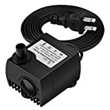 Homasy 80 GPH (300L/H, 4W) Submersible Water Pump, Ultra Quiet For Pond, Aquarium, Fish Tank Fountain, Powerful Water Pump with 5.9ft (1.8m) Power Cord