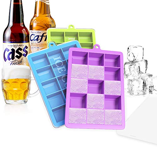 Ouddy 3 Pack Ice Cube Trays, Silicone Ice Cube Molds with Lid, Easy-Release 15-Ice Tray for Whiskey Cocktail - Blue + Green + Purple