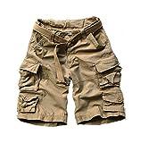 Welcome the good future 2019 Summer Mens Cargo Shorts Multi-Pocket Cotton Men Short Pants Workout Bermuda Shorts Free Belt,Khaki,S