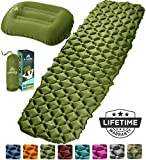HiHiker Camping Sleeping Pad + Inflatable Travel Pillow - Ultralight Backpacking Air Mattress w/Compact Carrying Bag -Sleeping Mat for Hiking Traveling & Outdoor Activities (Green)