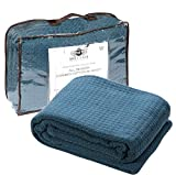 HILLFAIR 100% Soft Premium Combed Cotton Thermal Blanket- Queen Blankets- Soft Cozy Warm Cotton Blanket- Bed Throw Blanket- Queen Bed Blankets- All Season Cotton Blanket- Teal Queen Cotton Blankets