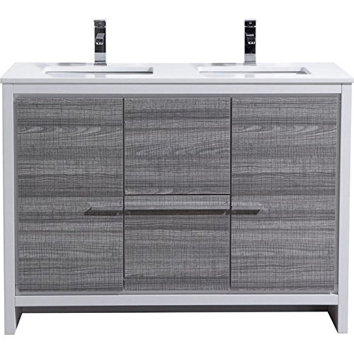 51qH7R0Mi1L MDF and Wood Veneer Construction Cabinet . Ash Gray Rich Finish / Two Functioning Doors and Two Drawers . Adjustable Doors and Drawers / Luxurious Pure White Quartz Countertop