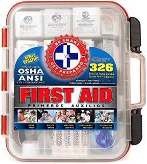 First Aid Kit Hard Red Case 326 Pieces Exceeds OSHA and ANSI Guidelines 100 People – Office, Home, Car, School, Emergency, Survival, Camping, Hunting, and Sports
